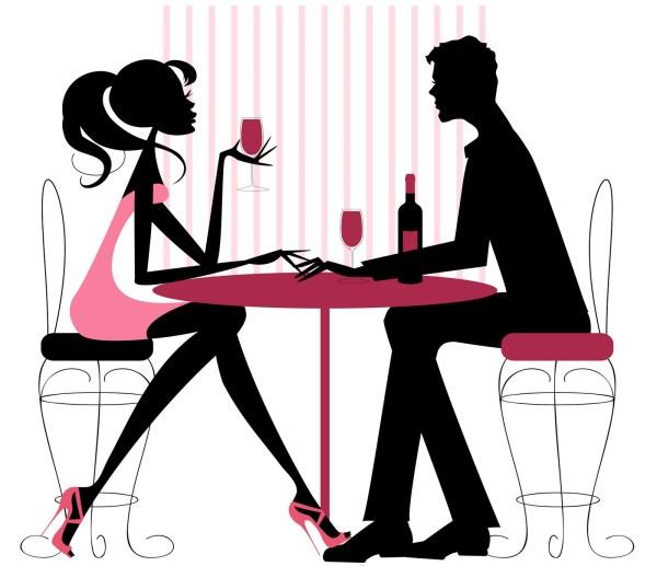 romantic dinner date clipart