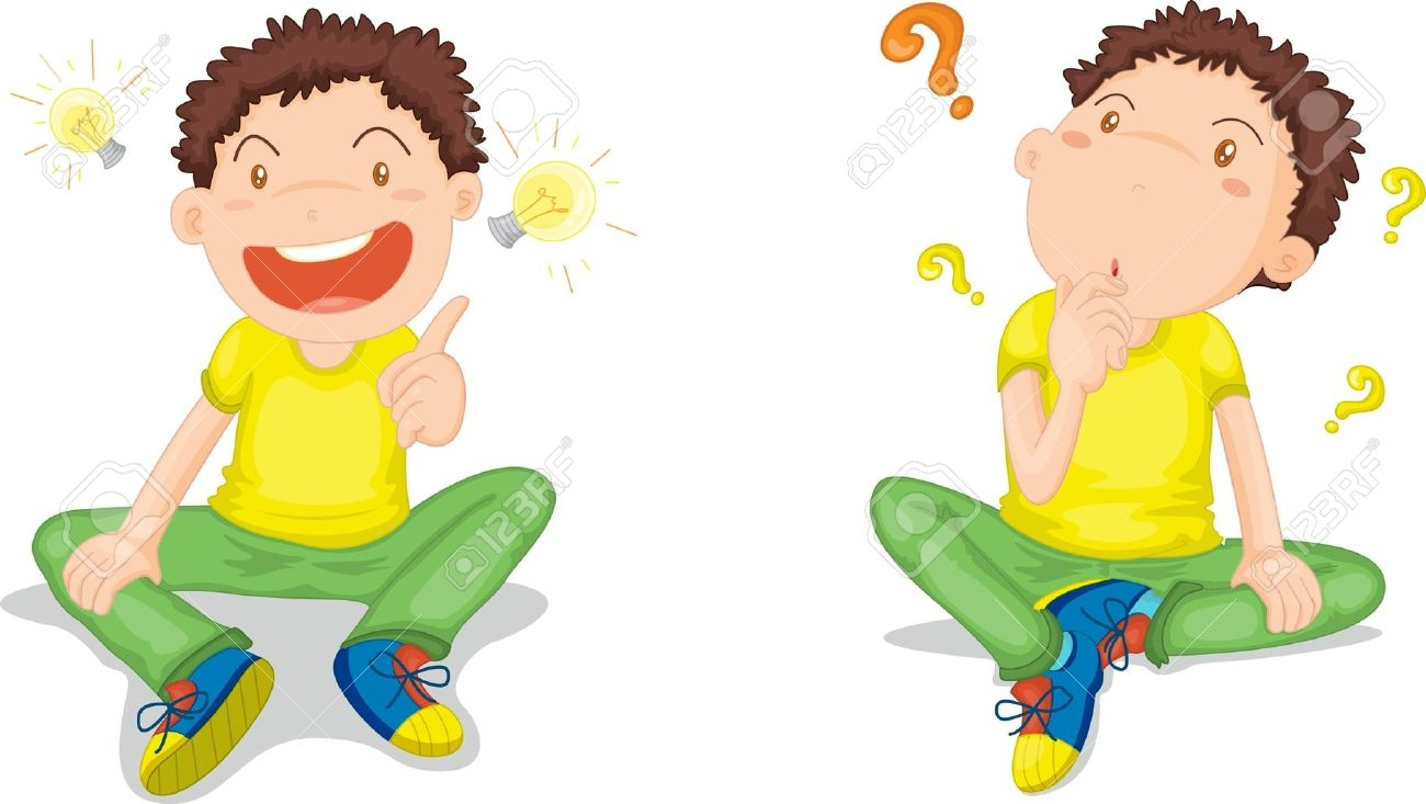 hight resolution of kid sitting and thinking clipart
