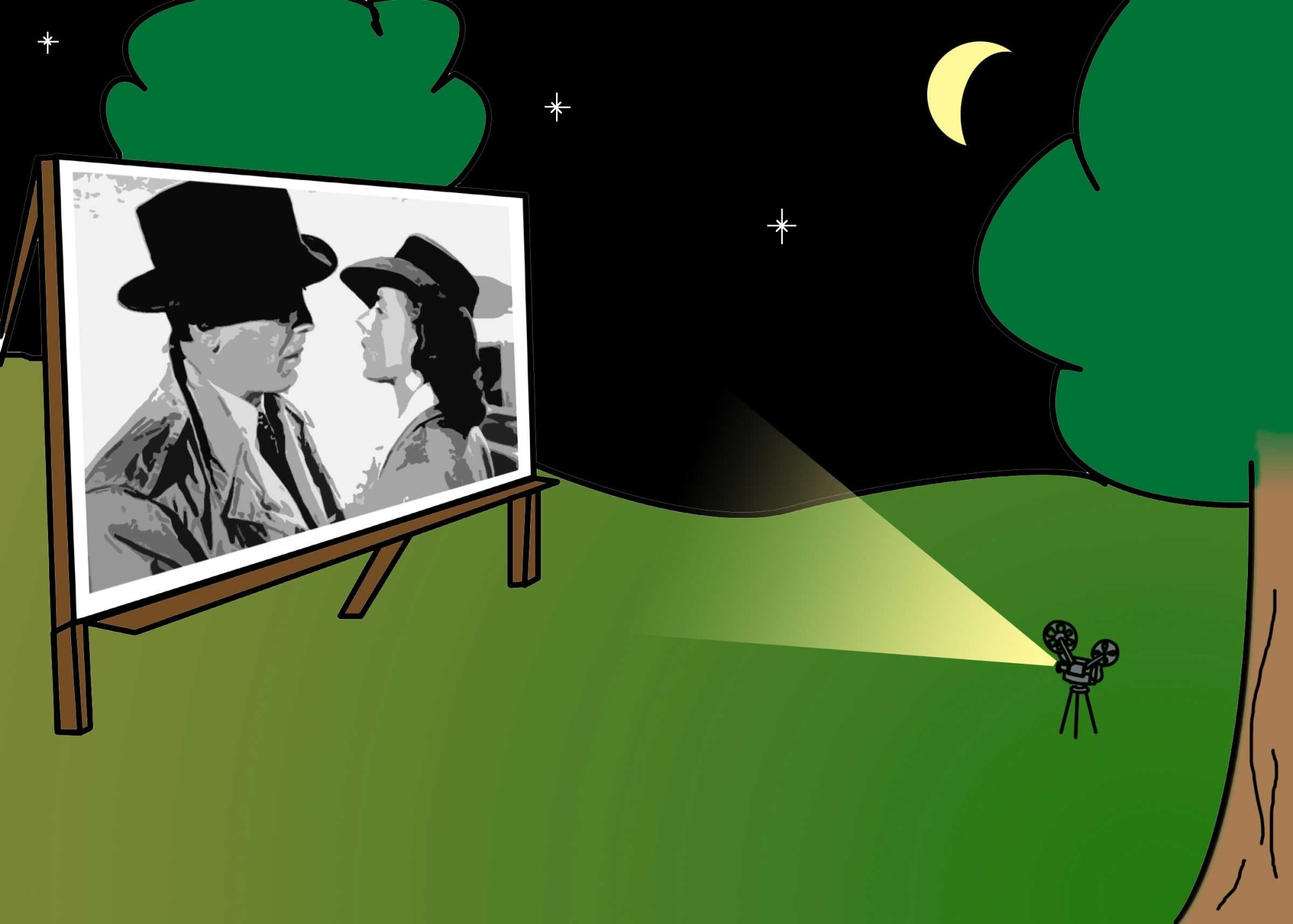 hight resolution of backyard movie night clipart
