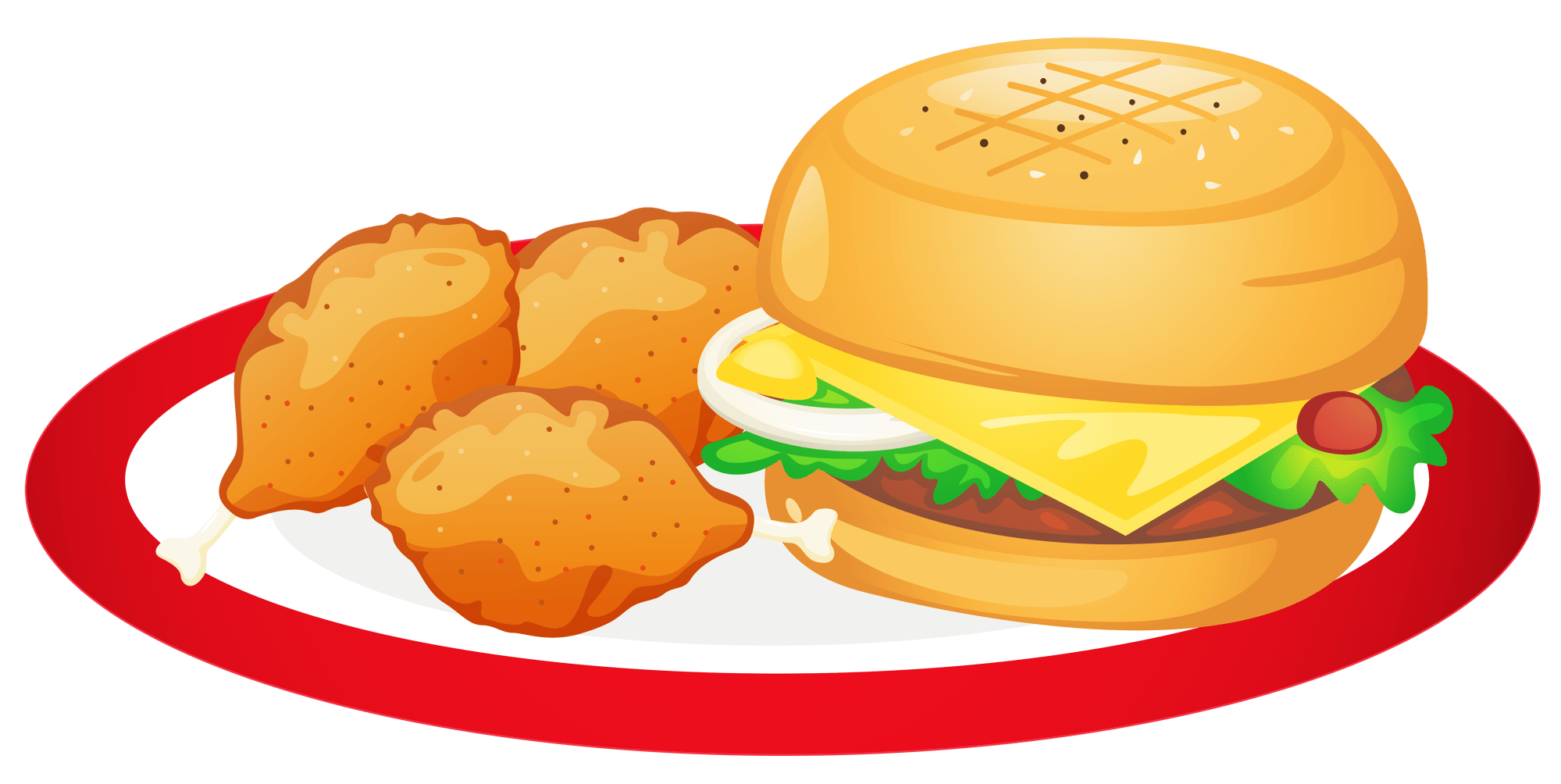 hight resolution of hamburger and chicken legs plate png clipart