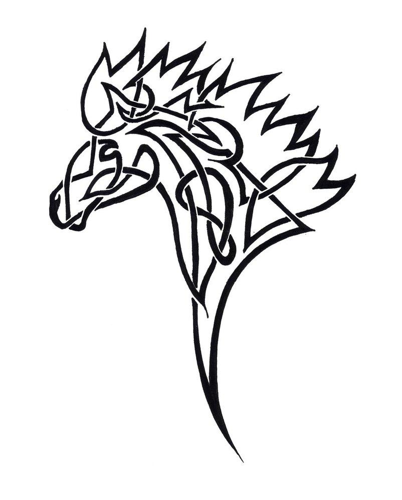 Tribal Horse Head Clip Art