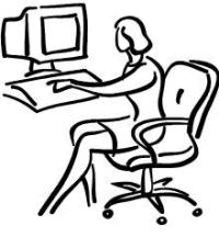 Woman On Computer Clipart