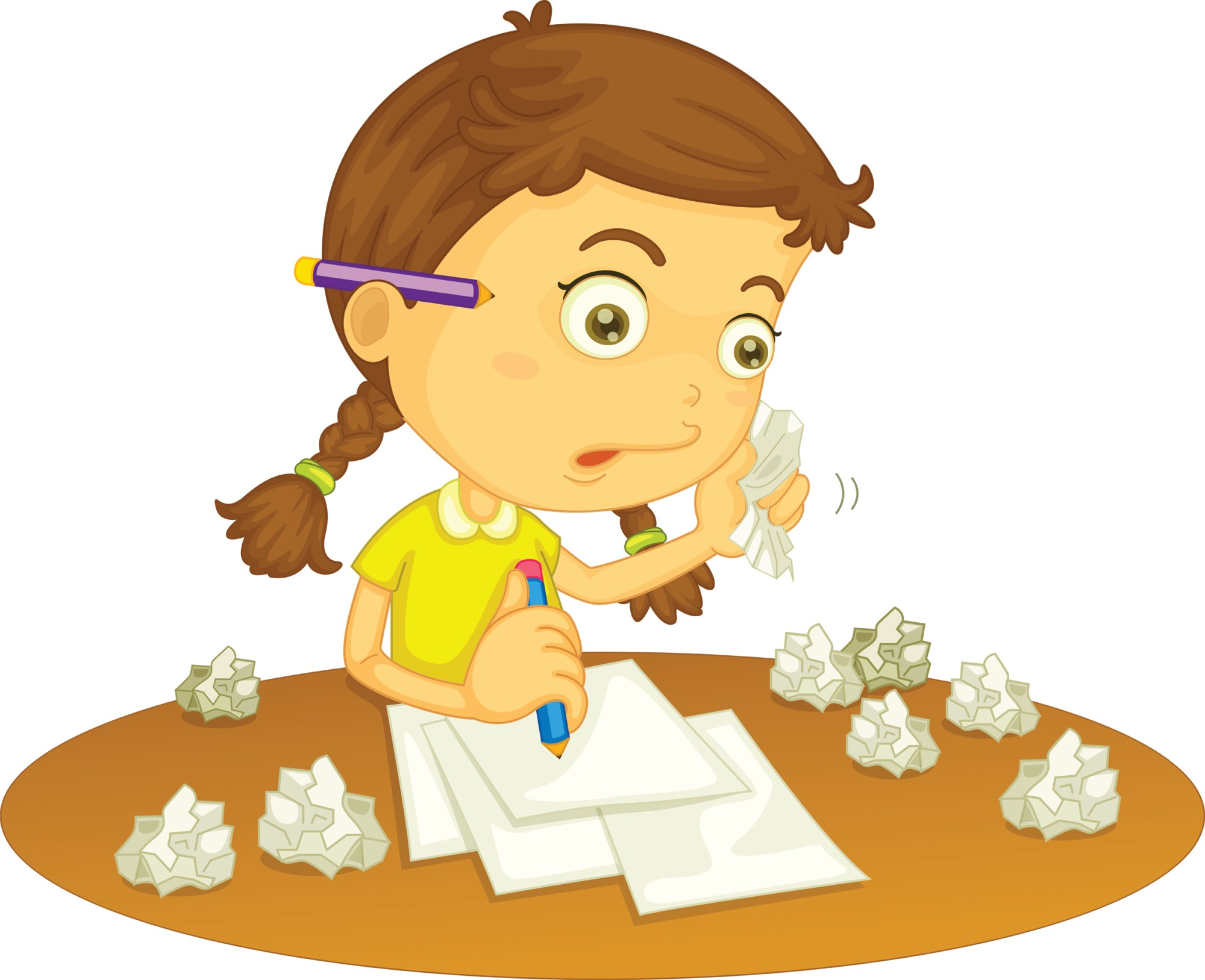 hight resolution of girl doing school work clipart