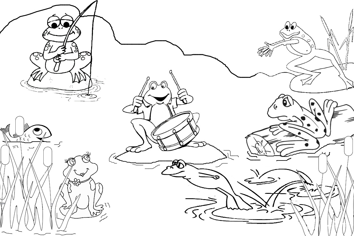 Pond Animals Clipart Black And White