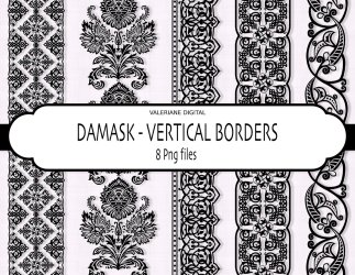 damask vertical borders clipart digital border clip etsy cliparts frames popular library printing items instant