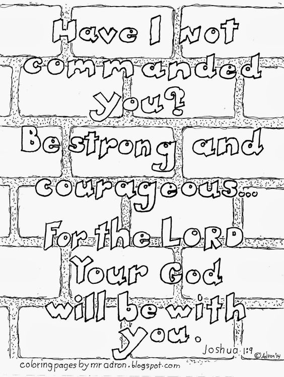 Coloring Page for Kids by Mr. Adron: Be Strong And
