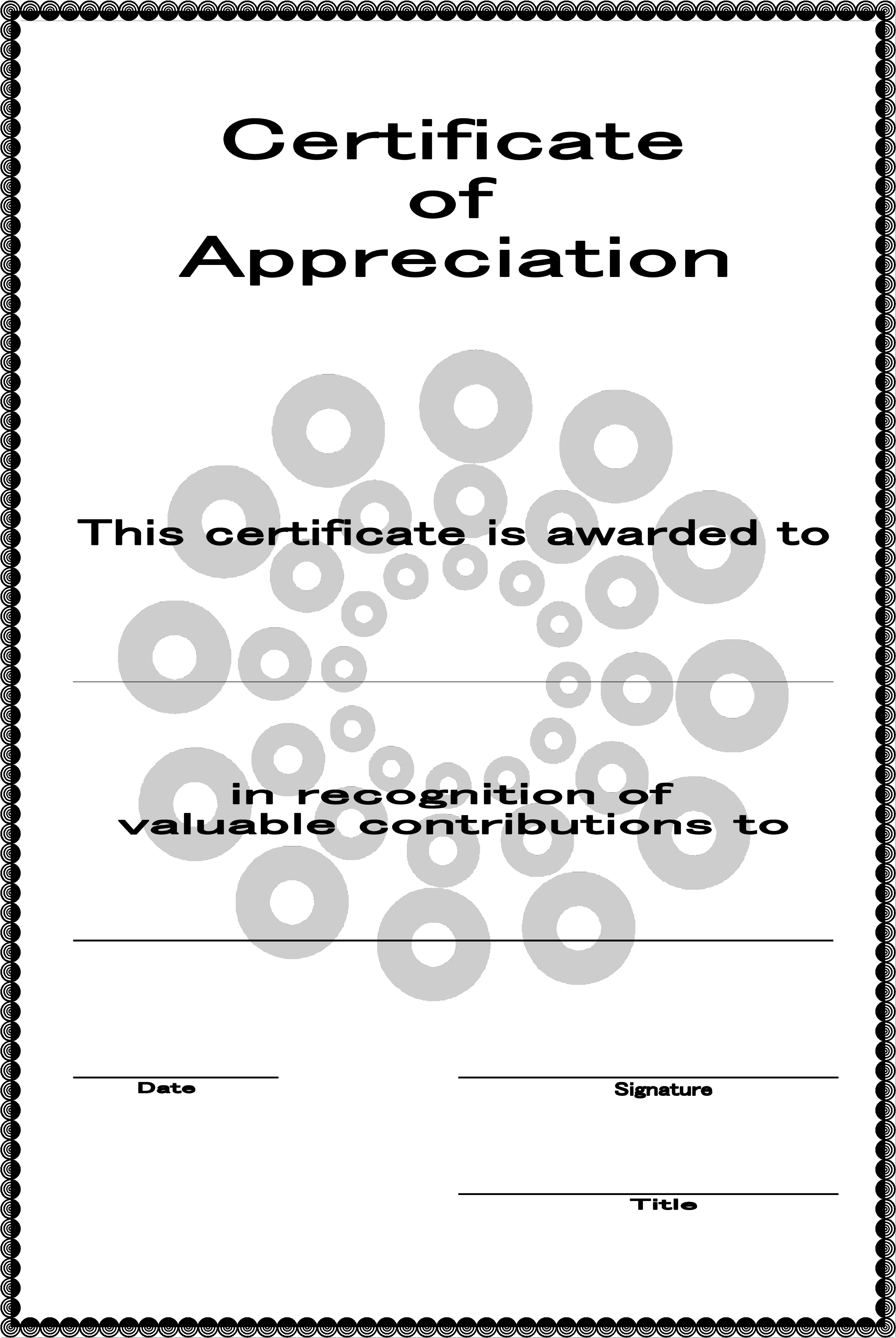 Certificate Of Appreciation Template Certificate Of