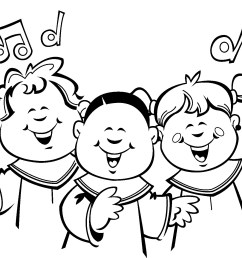 children choir clip art sketch coloring page [ 1774 x 1380 Pixel ]