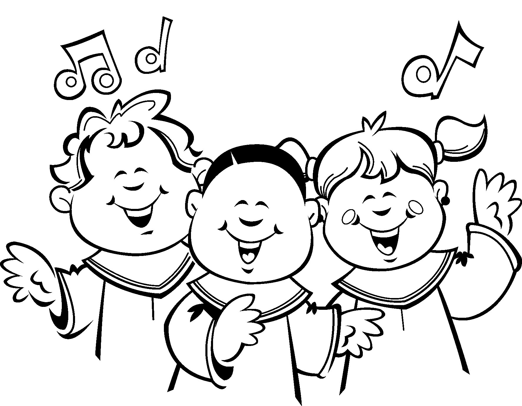hight resolution of children choir clip art sketch coloring page