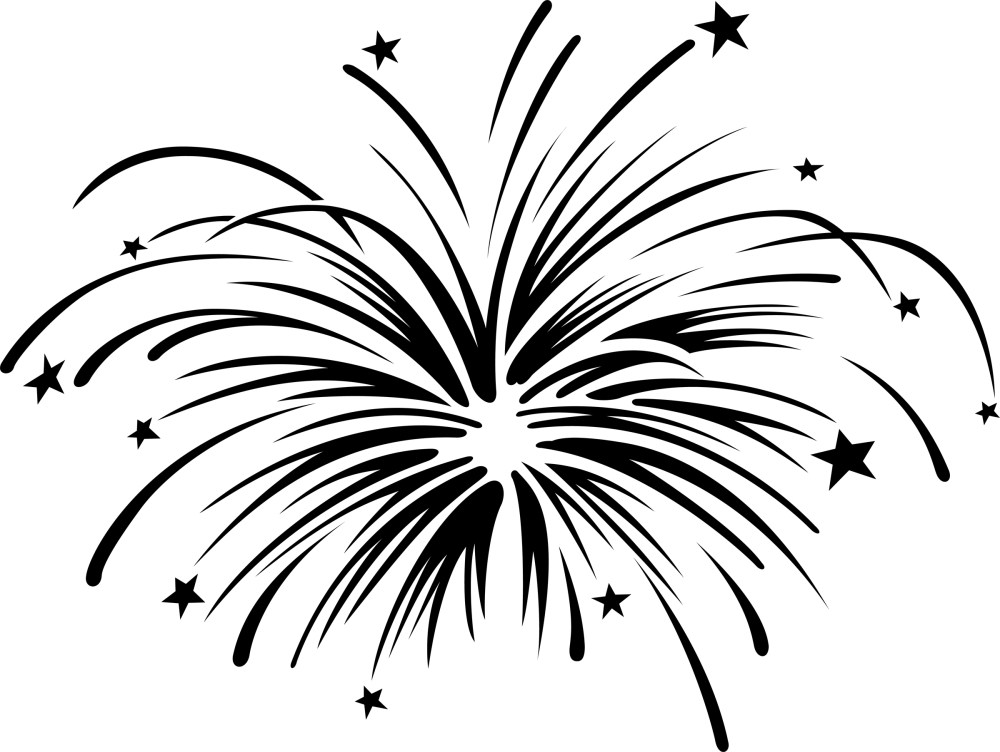 medium resolution of fireworks clipart black and white free