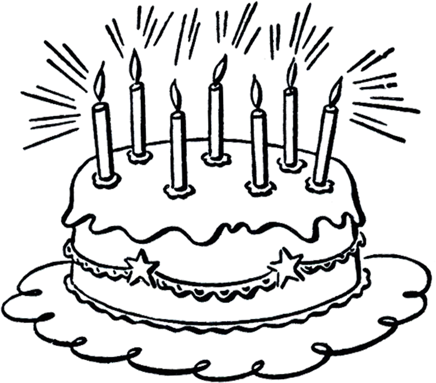 Free Clip Art Of Birthday Cake Clipart Black And White