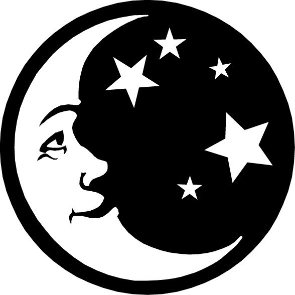 free moon clipart black and white