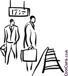 people waiting at the train Vector Clip art