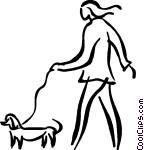person walking the dog Vector Clip art