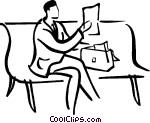 man sitting on a park bench Vector Clip art