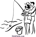 couple fishing Vector Clip art