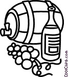 Wine barrel with grapes and Vector Clip art