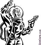 astronaut with ray gun science Vector Clip art