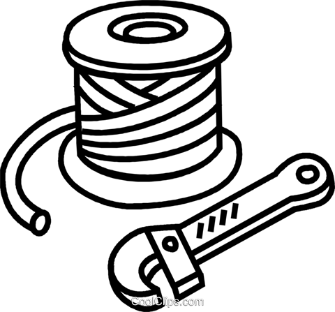 Roll of wire and wire cutter Royalty Free Vector Clip Art