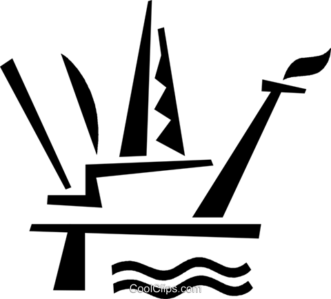 Offshore Drilling Platforms Royalty Free Vector Clip Art