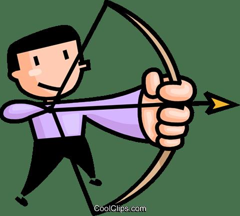 an archer taking aim Royalty Free Vector Clip Art