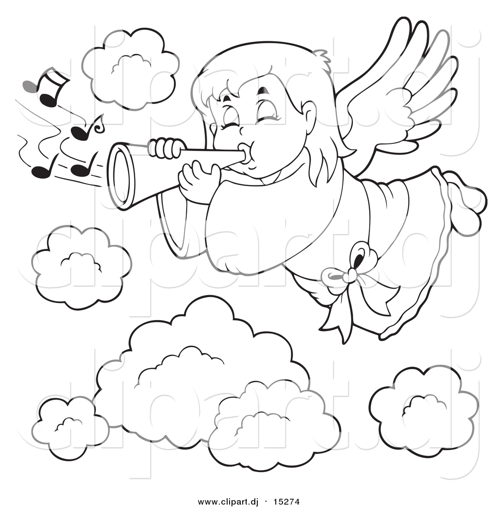 hight resolution of cartoon vector clipart of a lineart angel girl playing a trumpet in heaven