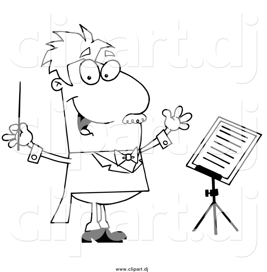 Cartoon Vector Clipart Of A Lineart Music Conductor By Hit