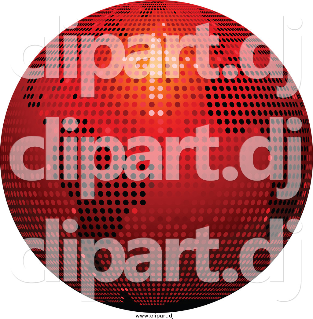 hight resolution of vector clipart of a 3d red sparkling disco ball globe