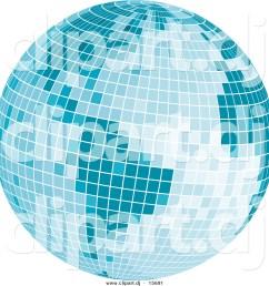 vector clipart of a mosaic blue disco ball earth [ 1024 x 1044 Pixel ]