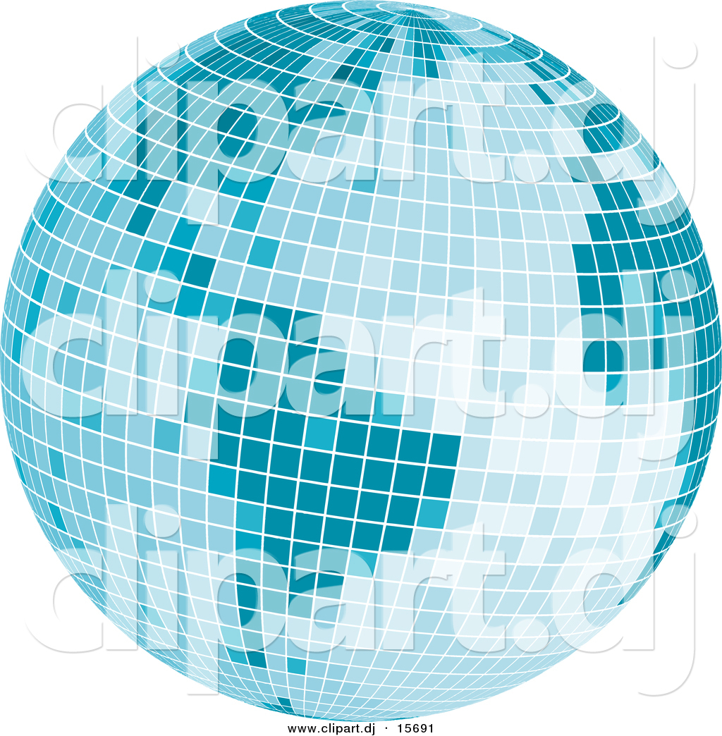 hight resolution of vector clipart of a mosaic blue disco ball earth