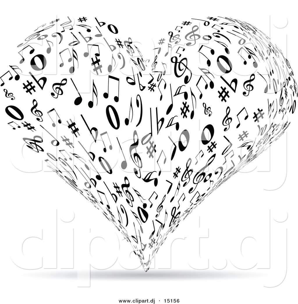 Vector Clipart Of A Music Note Love Heart