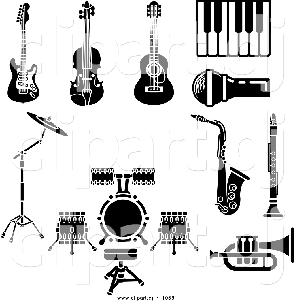 Vector Clipart Of Musical Instruments And Items Including