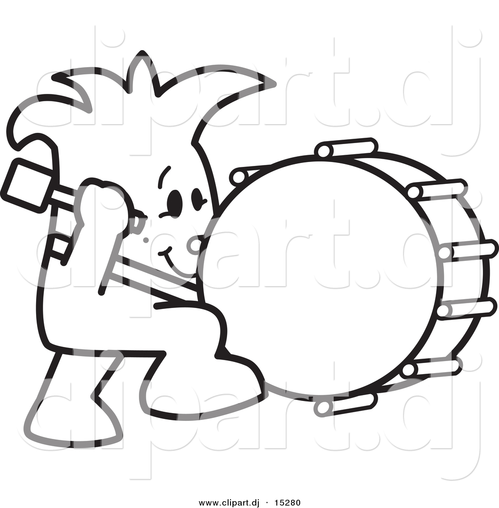 Vector Of A Cartoon Dude Beating A Drum While Marching