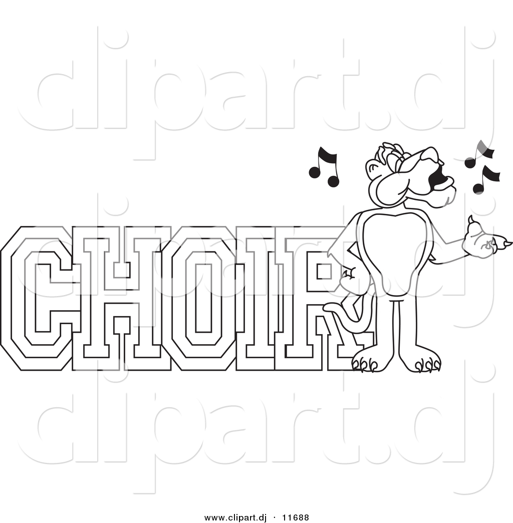 Vector Of A Cartoon Panther With Choir Text