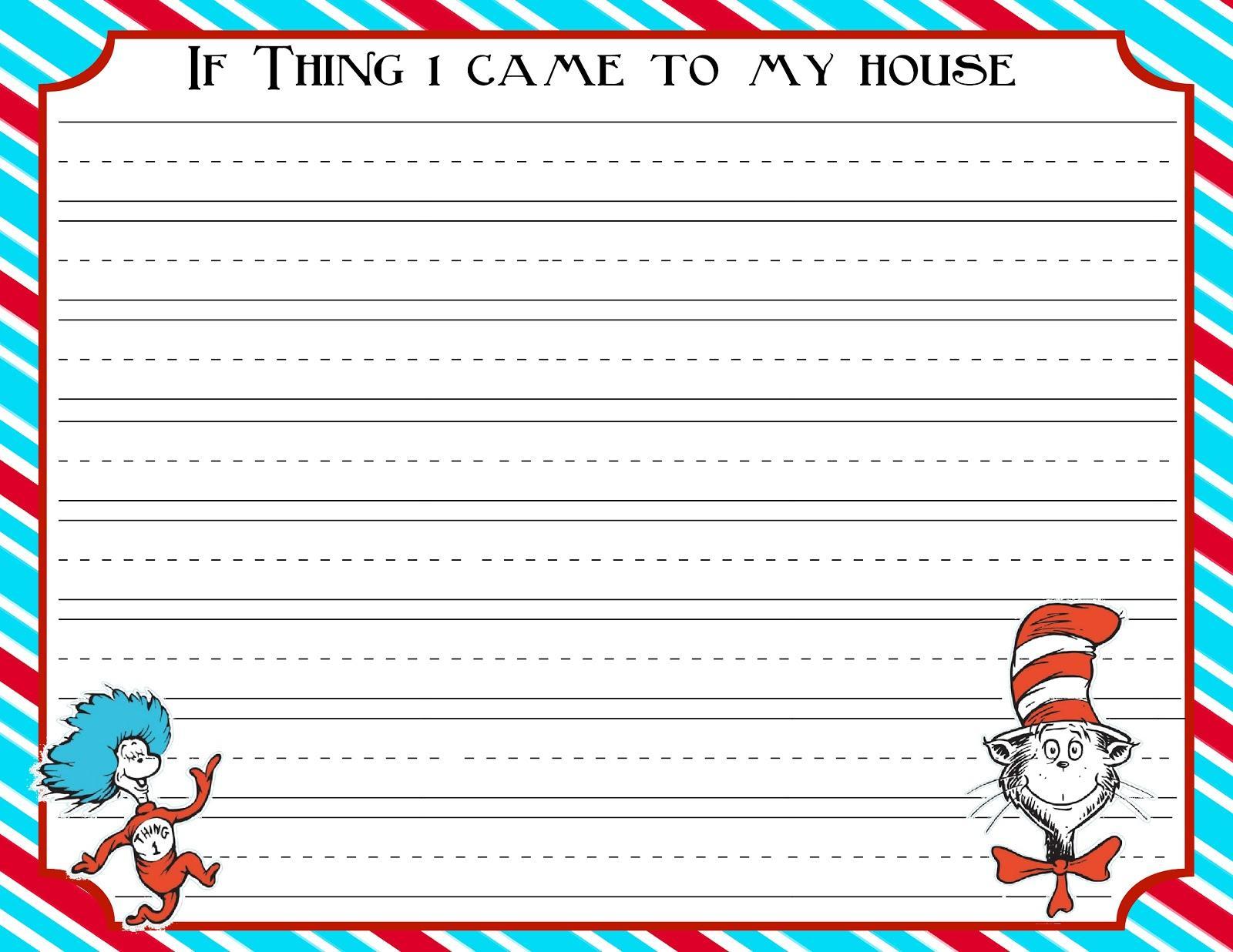 Dr Seuss Essay Informal Border Free Printable
