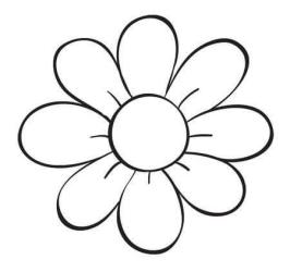 Flower Clipart Black And White Simple Easy