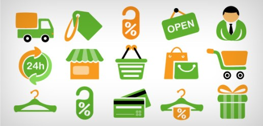 15 shopping icons Free PSD and PNG Clip Art