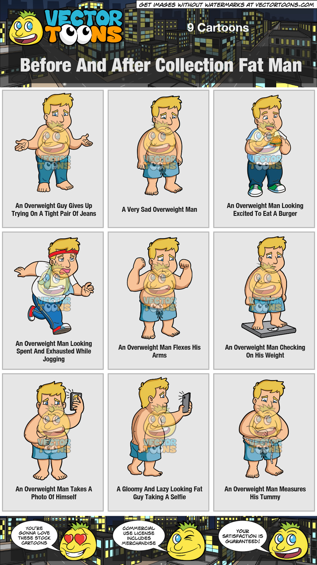 hight resolution of fat man clipart