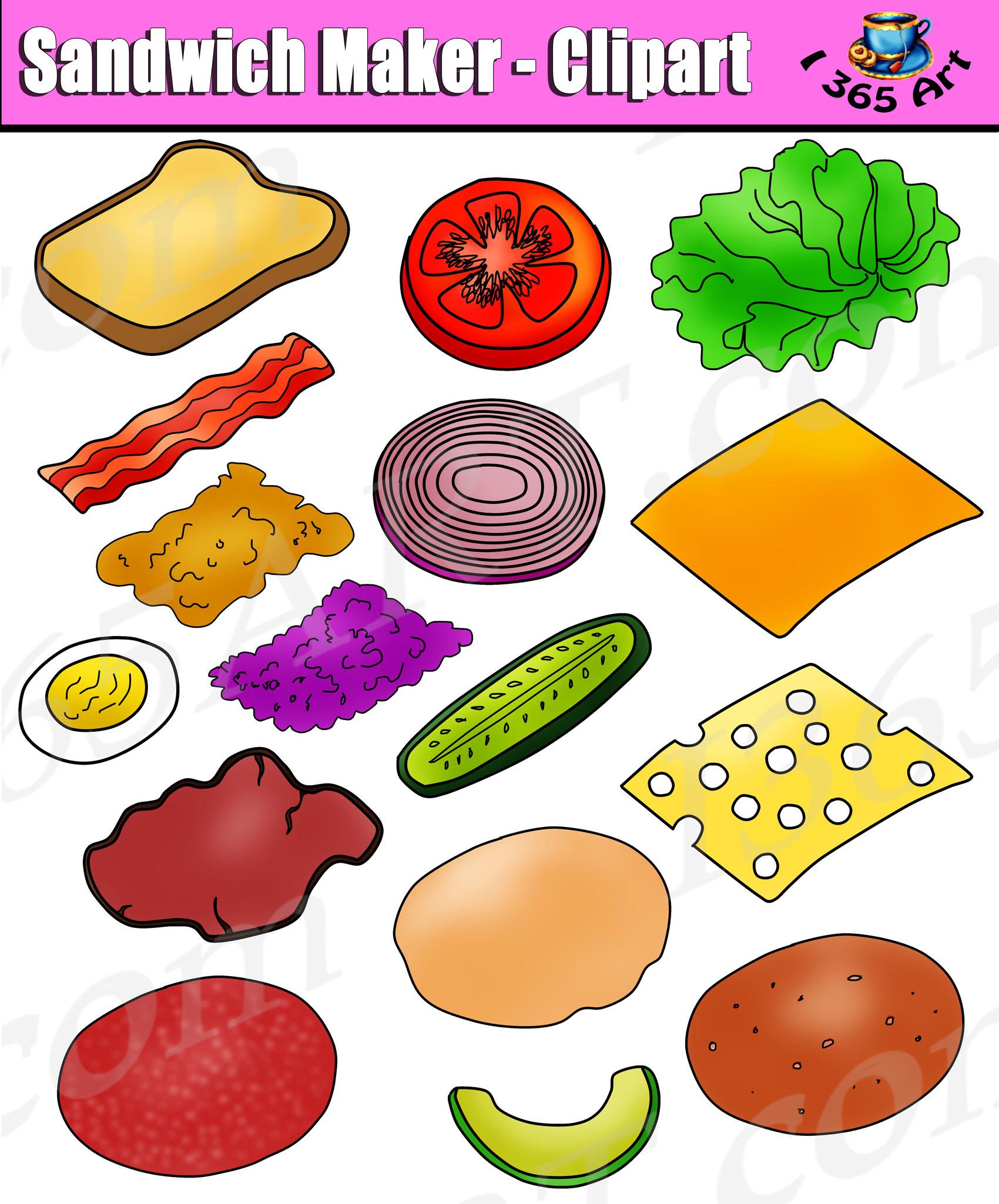 Build Sandwich Clipart Set Sandwich Maker Clip Art