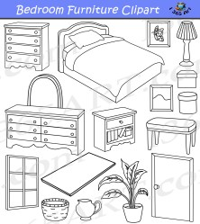 bedroom clipart furniture commercial different graphics preview bw