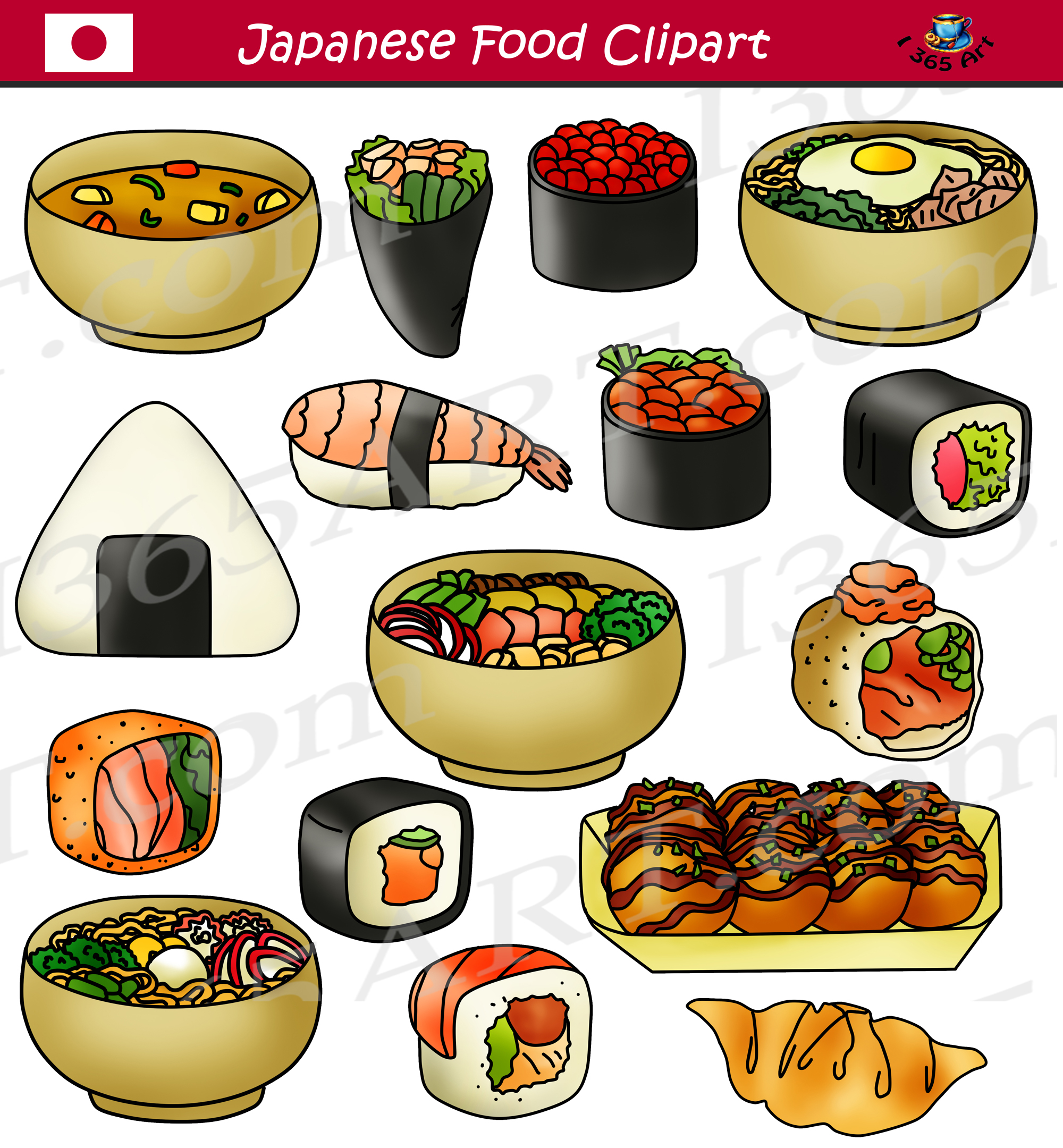 Japanese Food Clipart Sushi Commercial Graphics