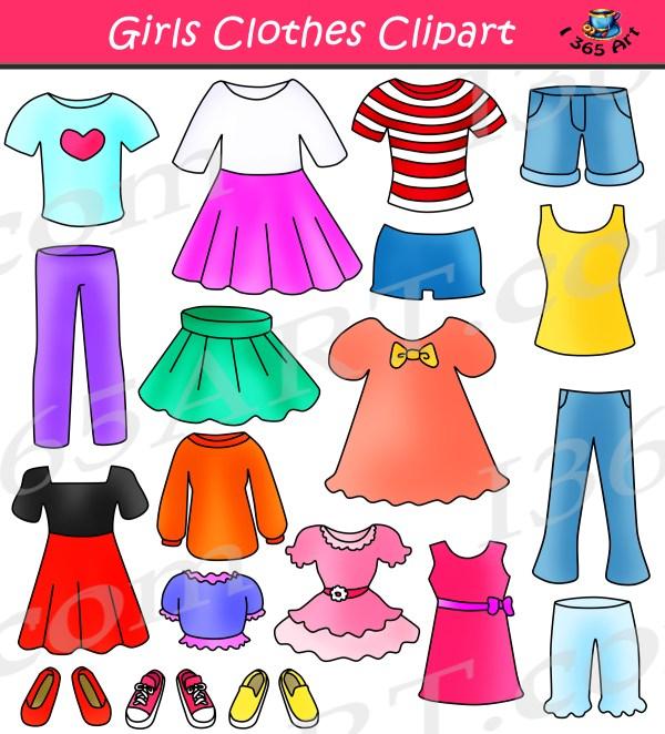 Girls Clothes Clipart Set Dress Up Clip Art School Clipart