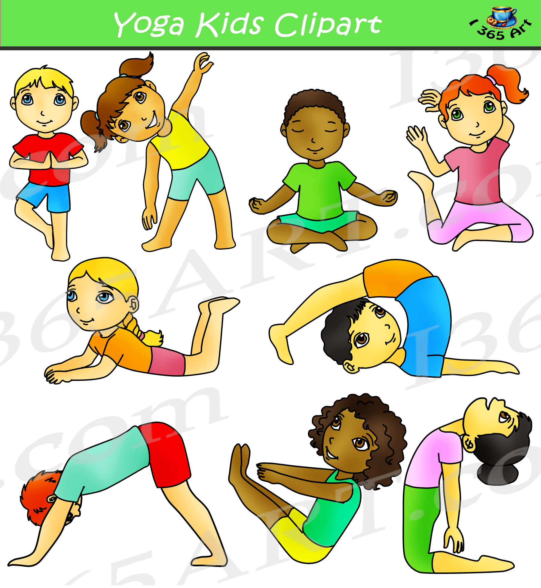 Kids Yoga Clipart Activity Set