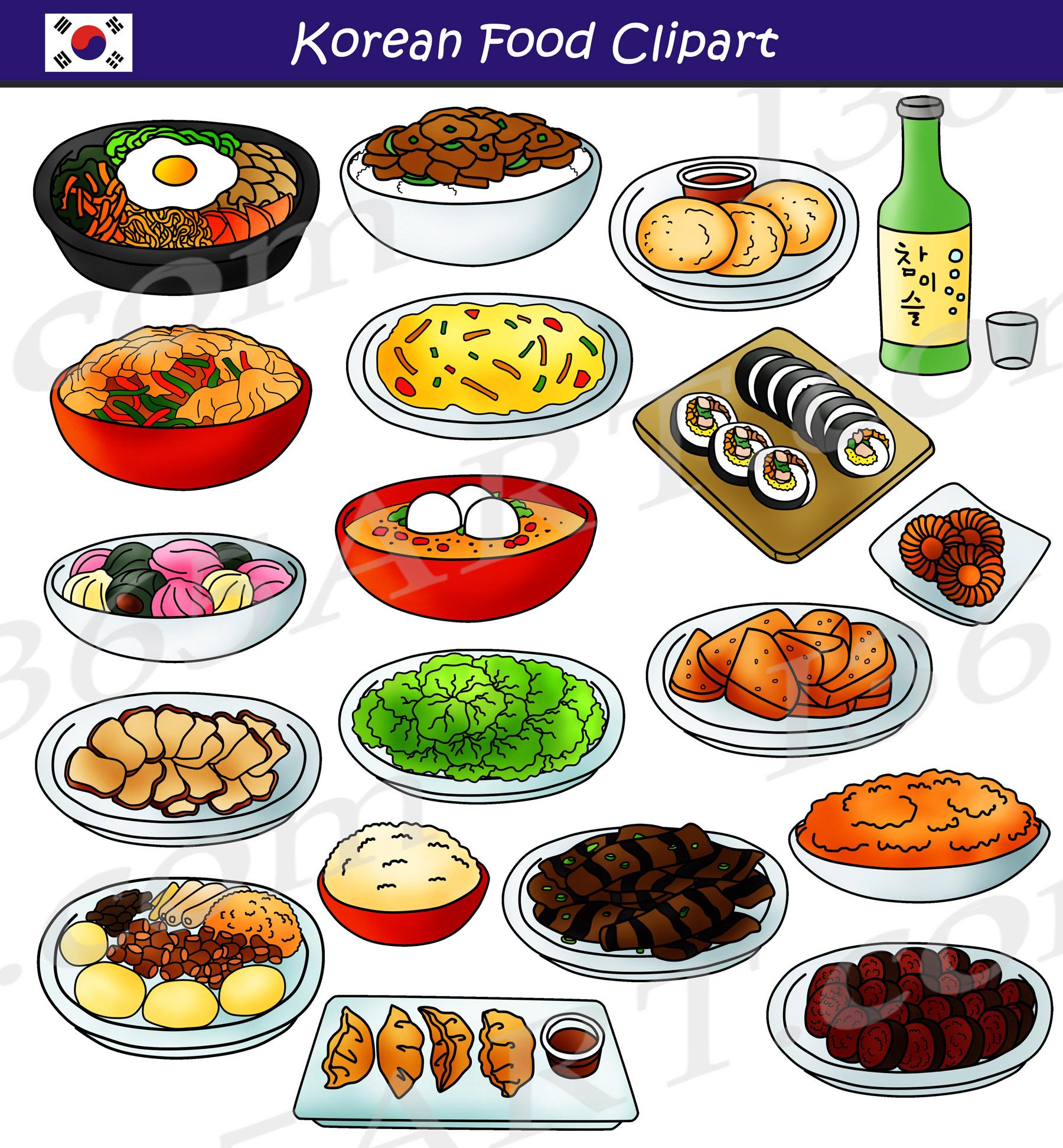 Korean Food Clipart Set