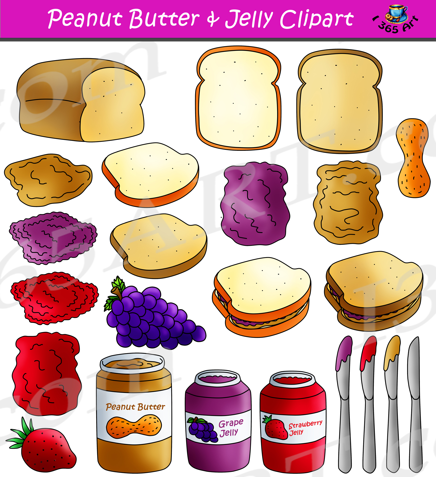 Peanut Butter Jelly Clipart Maker Graphics Commercial Download