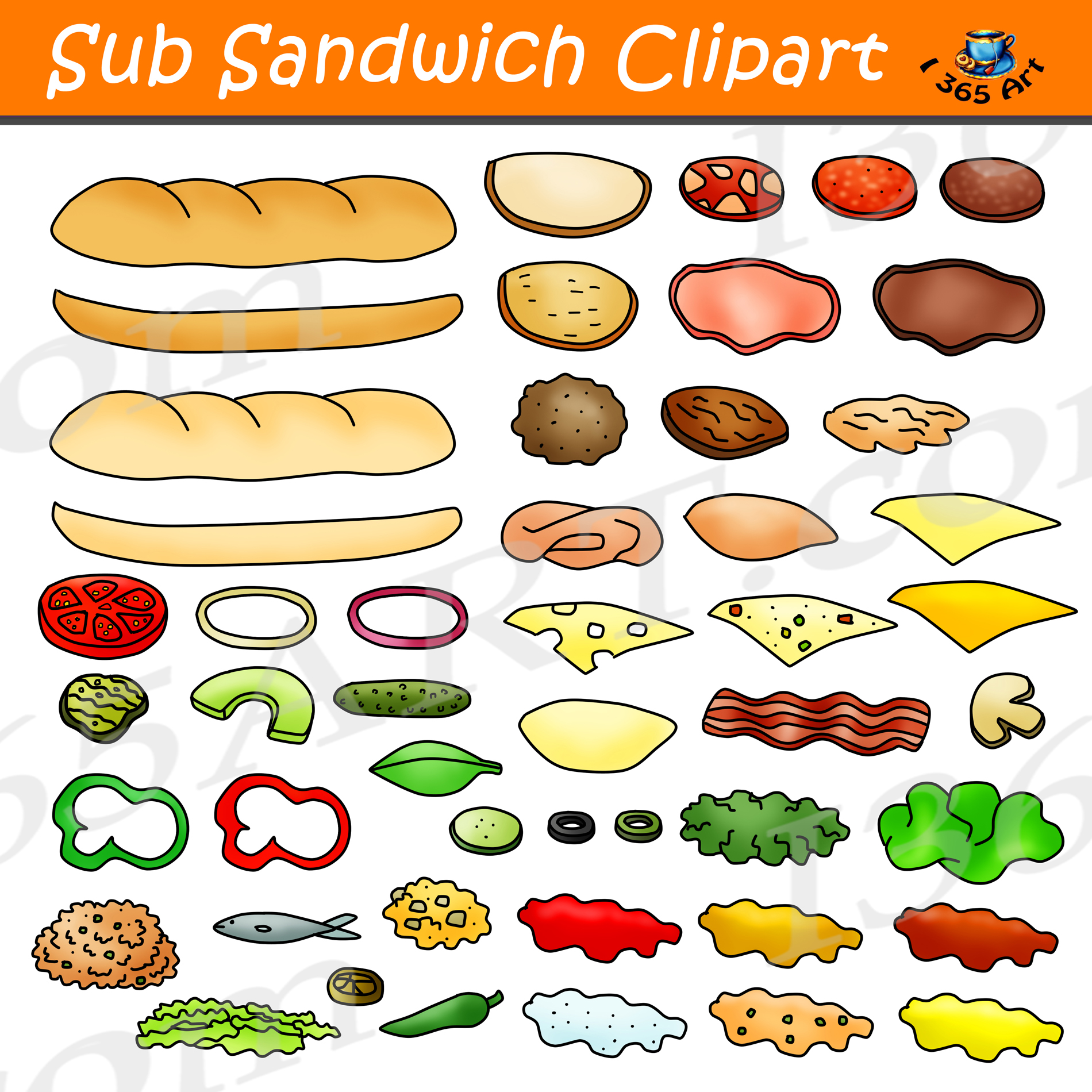 Sub Sandwich Clipart Graphics Commercial Download