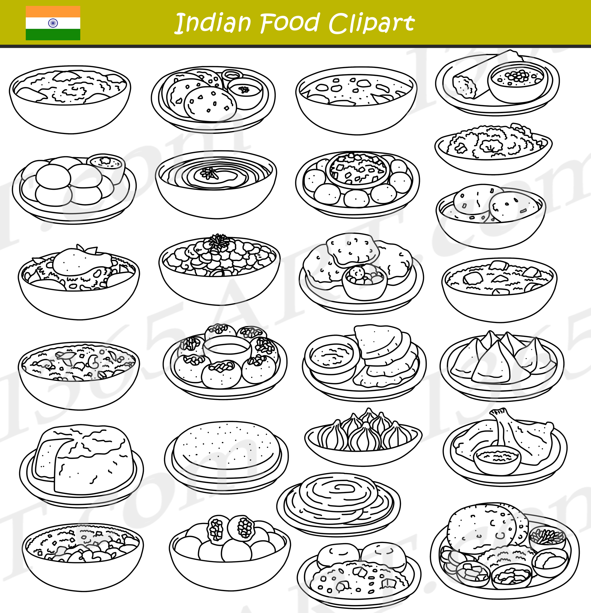 hight resolution of indian food clipart black and white
