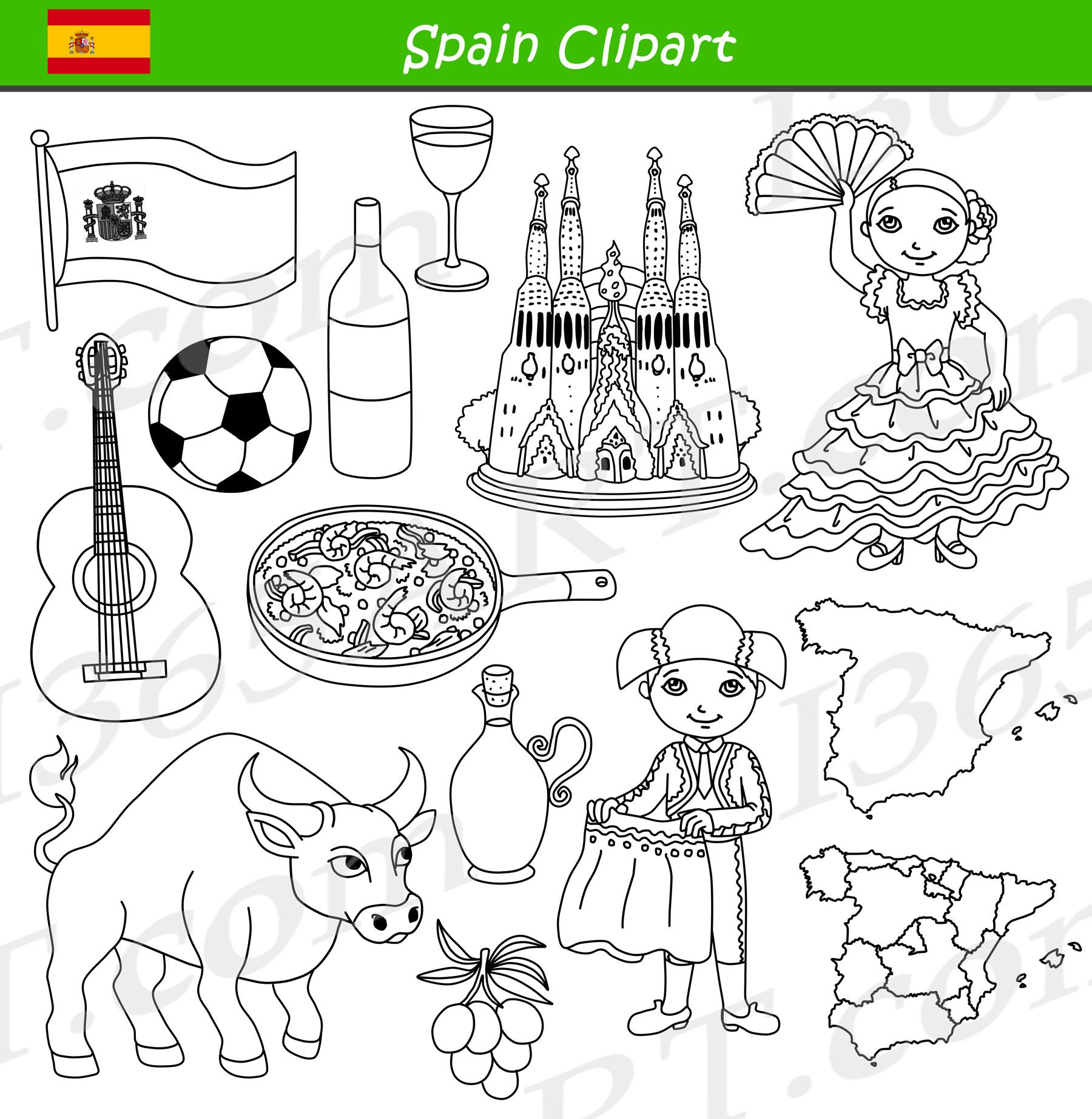 Spain Clipart Culture Graphics Bundle Set