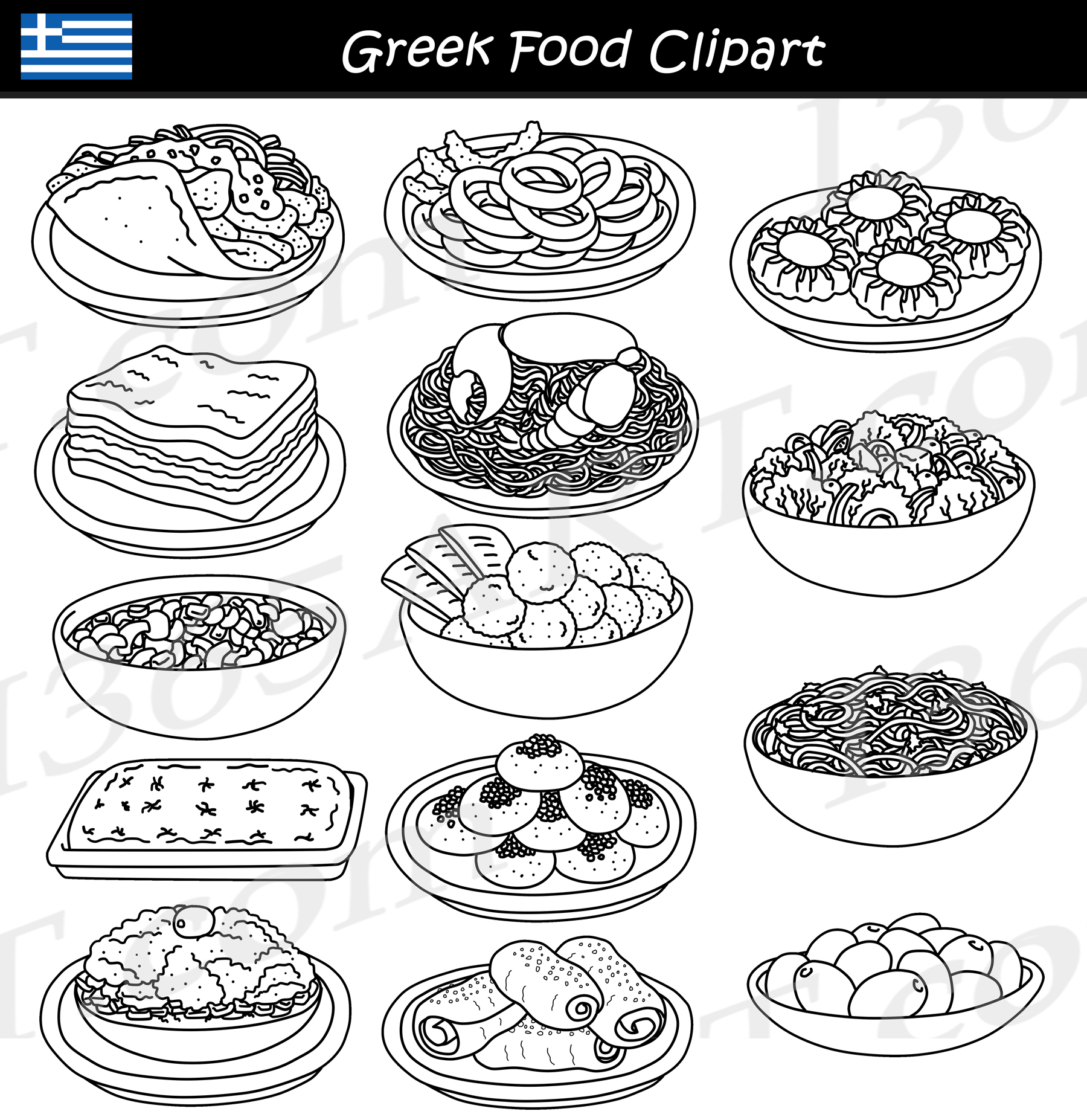 Greek Food Clipart Graphics Download
