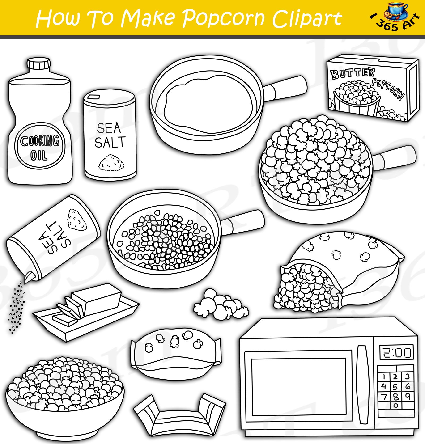 how to make popcorn clipart download
